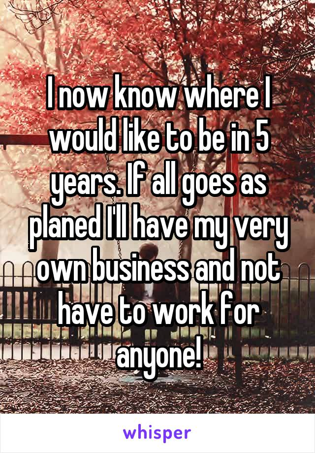 I now know where I would like to be in 5 years. If all goes as planed I'll have my very own business and not have to work for anyone!