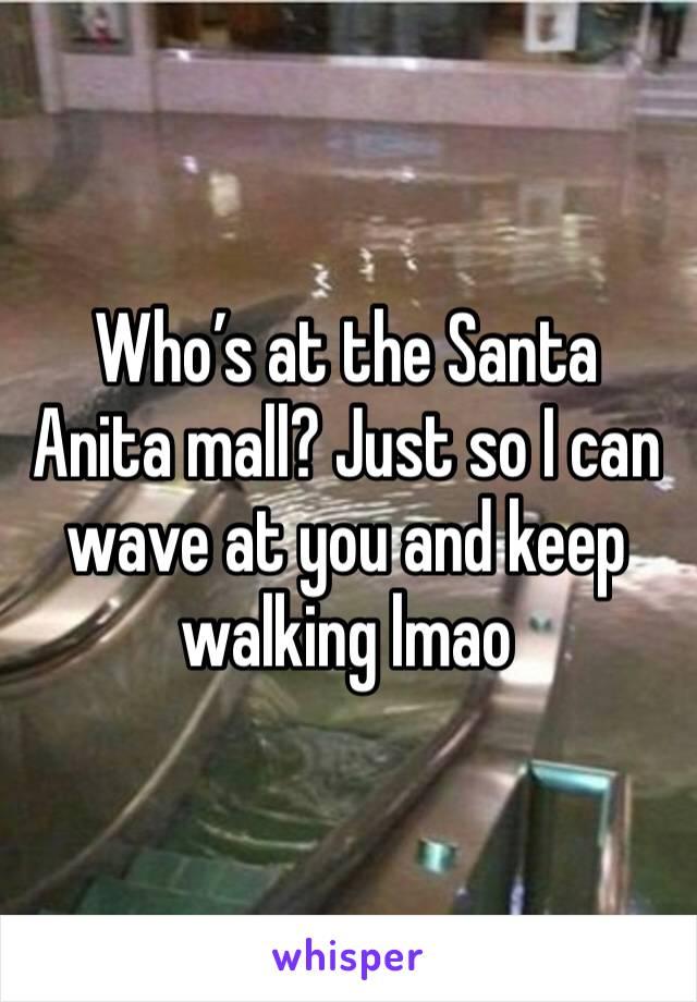 Who's at the Santa Anita mall? Just so I can wave at you and keep walking lmao