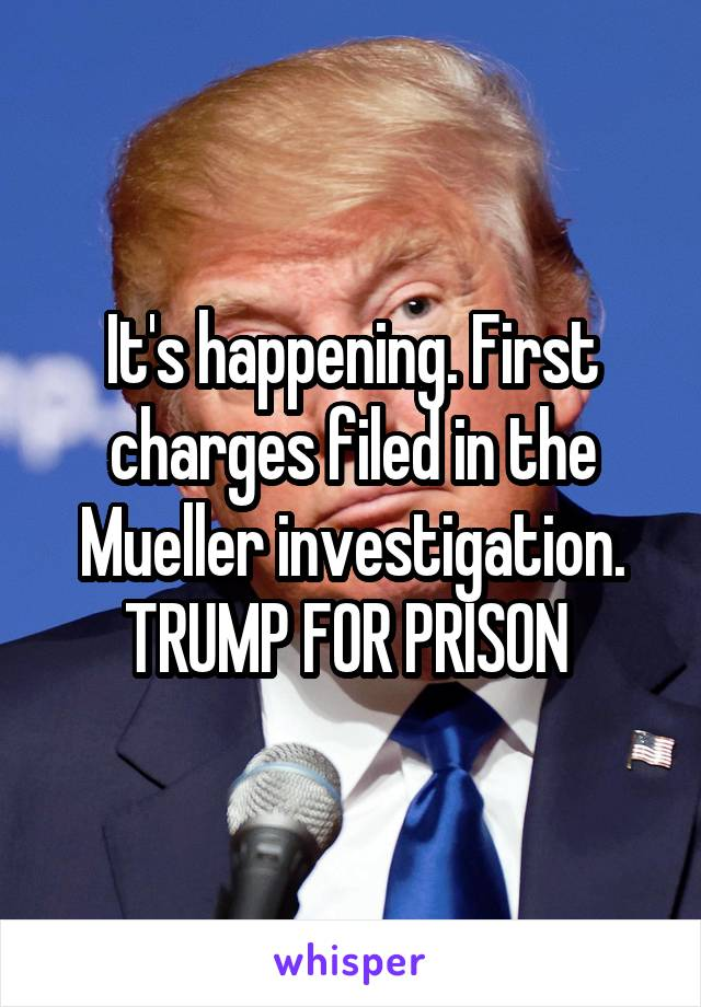 It's happening. First charges filed in the Mueller investigation. TRUMP FOR PRISON