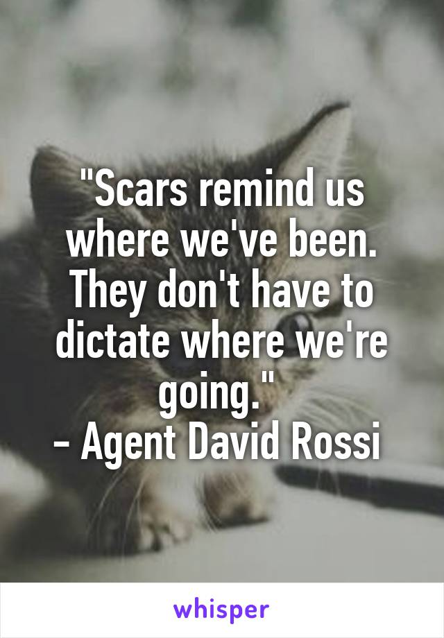 """""""Scars remind us where we've been. They don't have to dictate where we're going.""""  - Agent David Rossi"""
