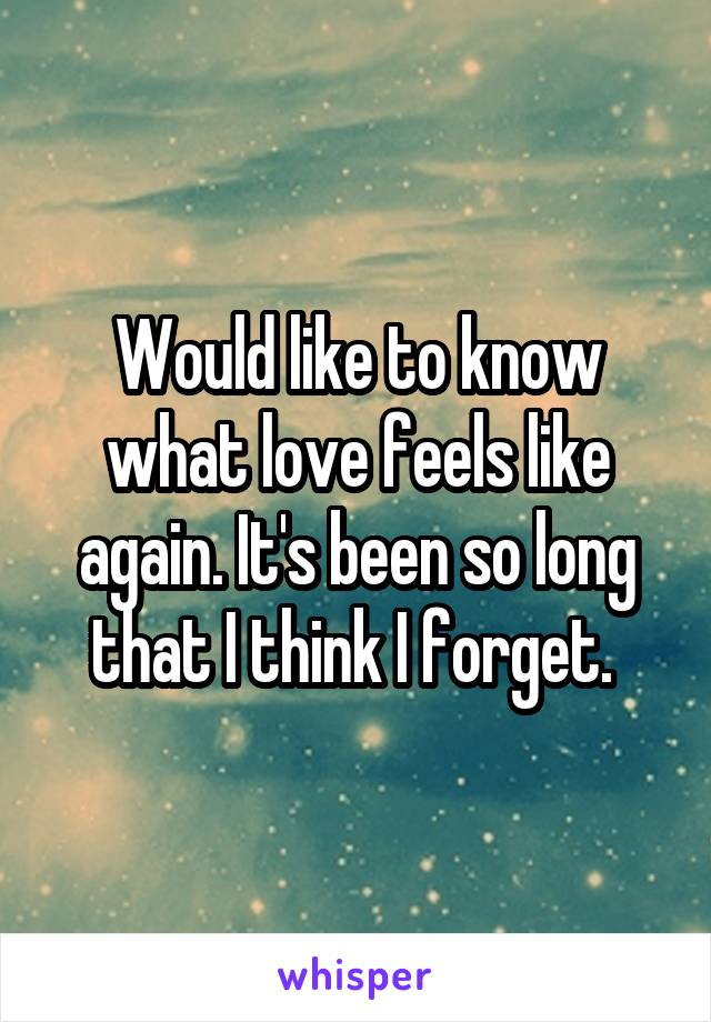 Would like to know what love feels like again. It's been so long that I think I forget.