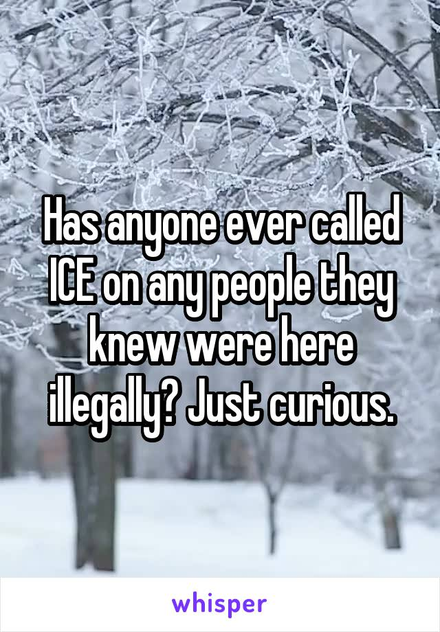 Has anyone ever called ICE on any people they knew were here illegally? Just curious.