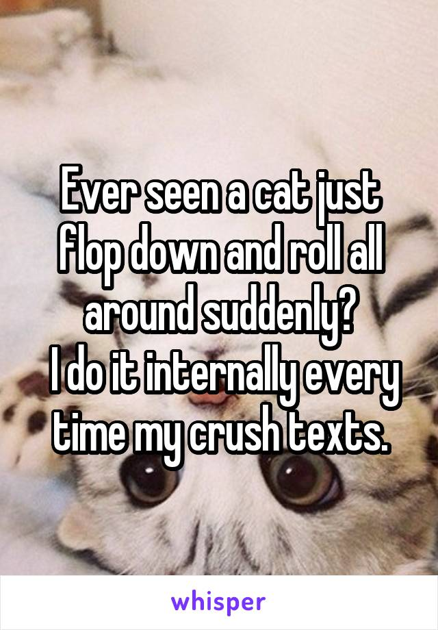 Ever seen a cat just flop down and roll all around suddenly?  I do it internally every time my crush texts.