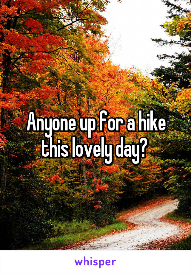 Anyone up for a hike this lovely day?