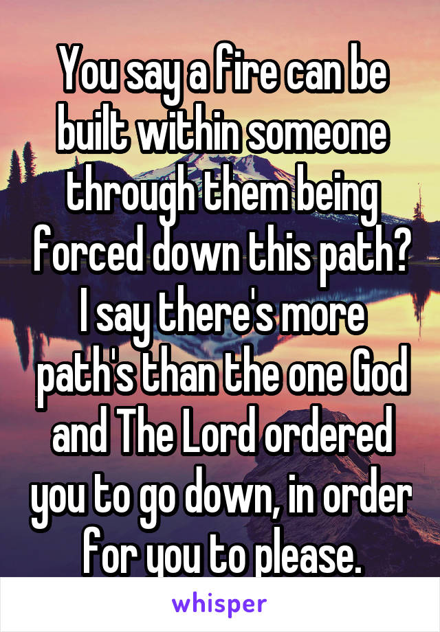 You say a fire can be built within someone through them being forced down this path? I say there's more path's than the one God and The Lord ordered you to go down, in order for you to please.