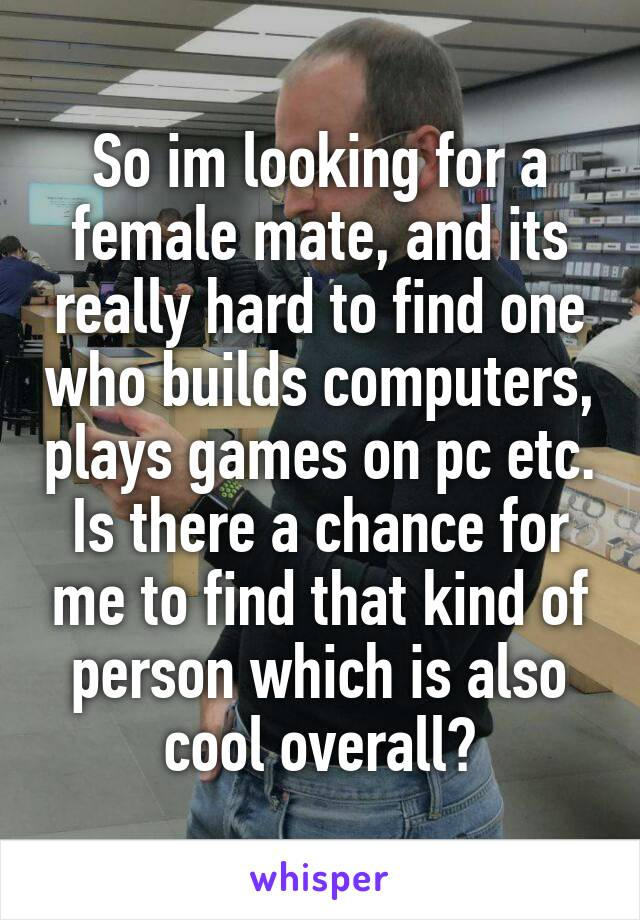 So im looking for a female mate, and its really hard to find one who builds computers, plays games on pc etc. Is there a chance for me to find that kind of person which is also cool overall?