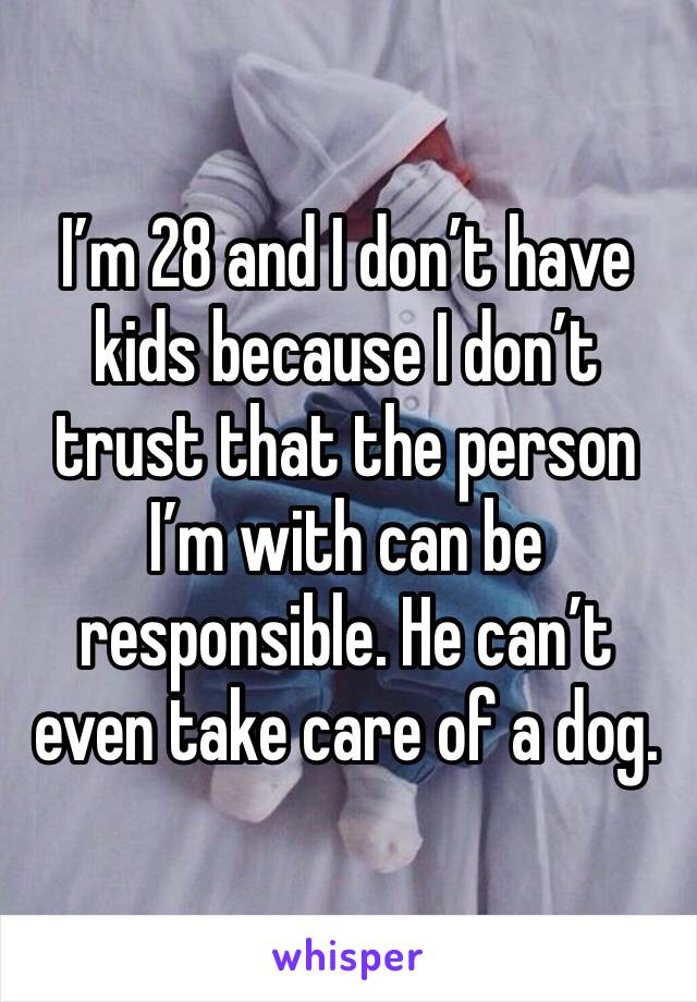 I'm 28 and I don't have kids because I don't trust that the person I'm with can be responsible. He can't even take care of a dog.