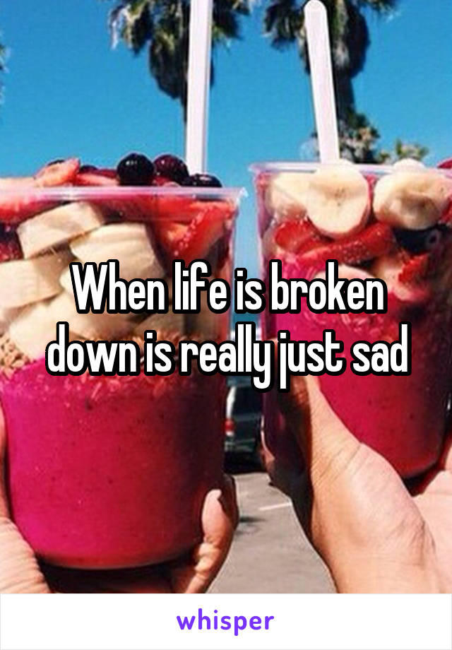 When life is broken down is really just sad