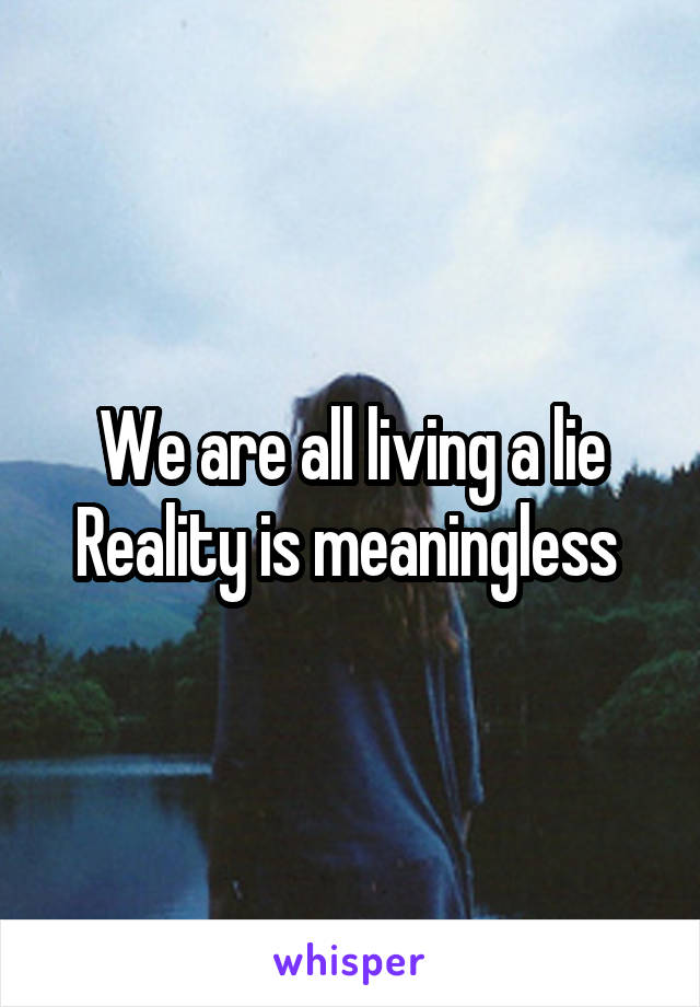 We are all living a lie Reality is meaningless