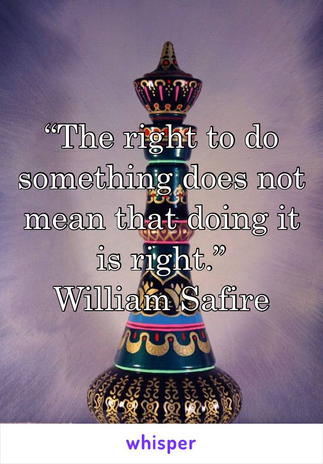 """The right to do something does not mean that doing it is right.""       William Safire"