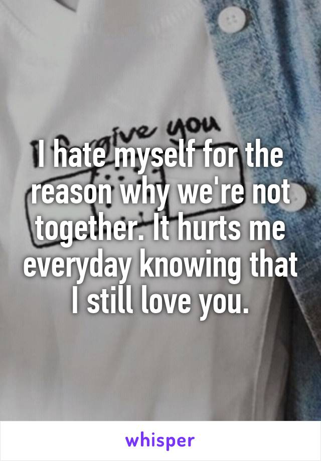 I hate myself for the reason why we're not together. It hurts me everyday knowing that I still love you.