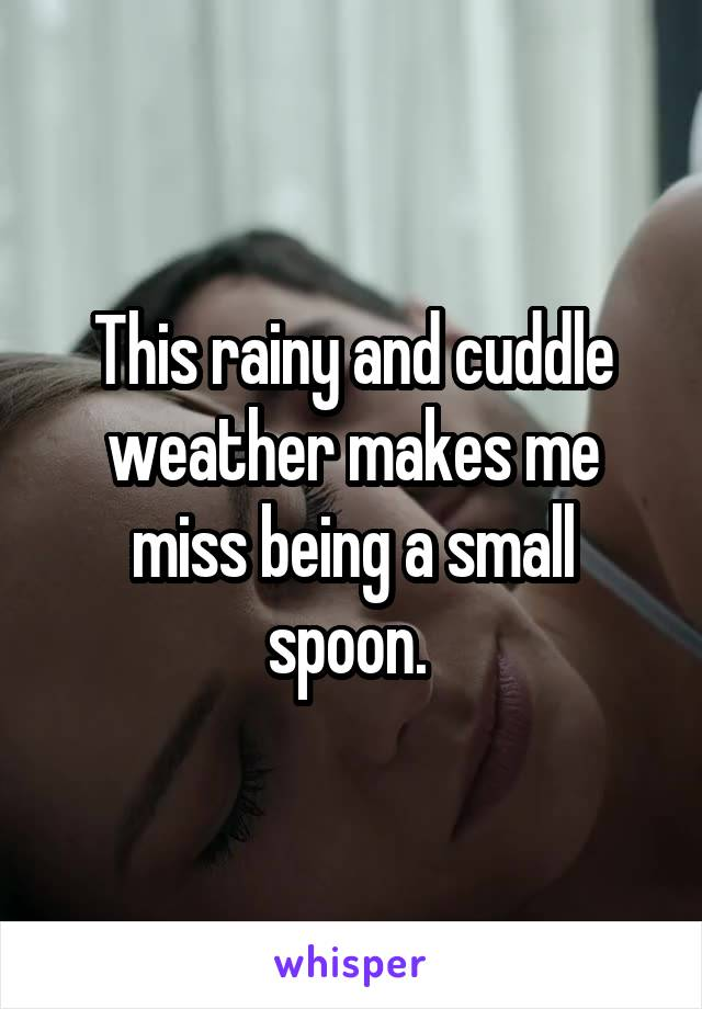 This rainy and cuddle weather makes me miss being a small spoon.