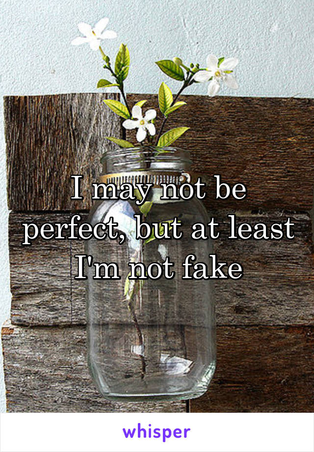 I may not be perfect, but at least I'm not fake