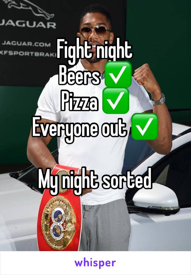 Fight night  Beers ✅  Pizza ✅  Everyone out ✅   My night sorted