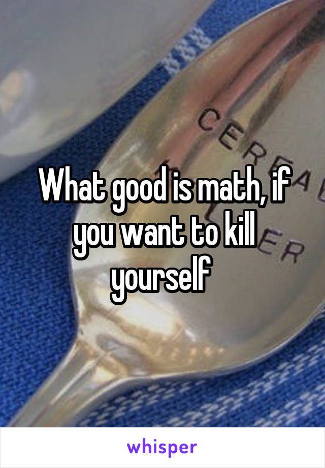 What good is math, if you want to kill yourself