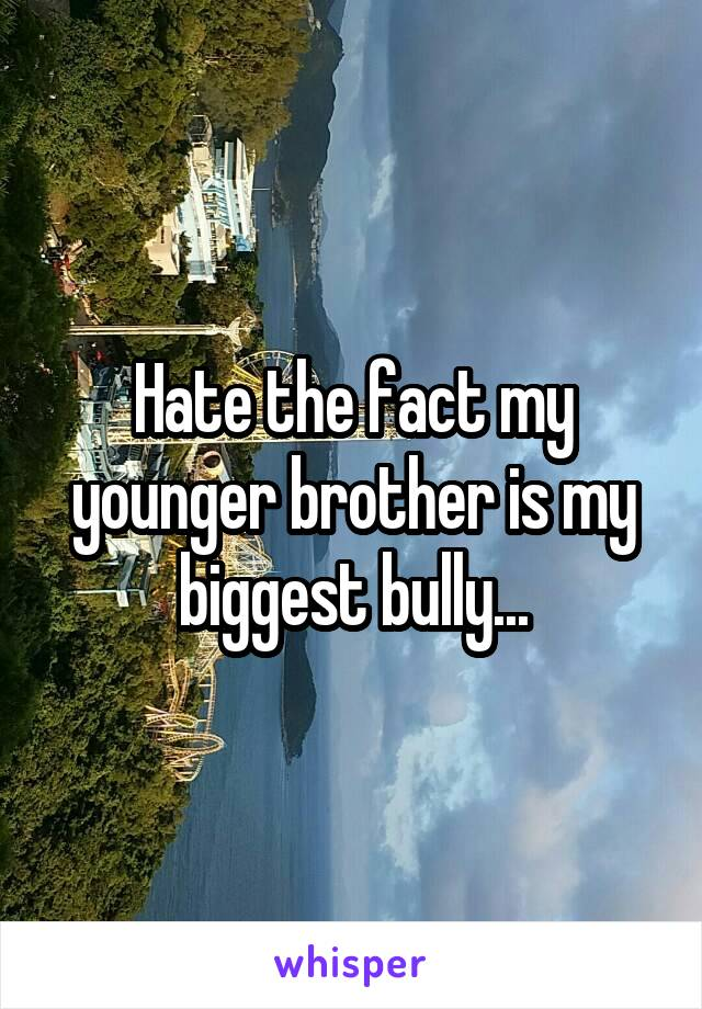 Hate the fact my younger brother is my biggest bully...