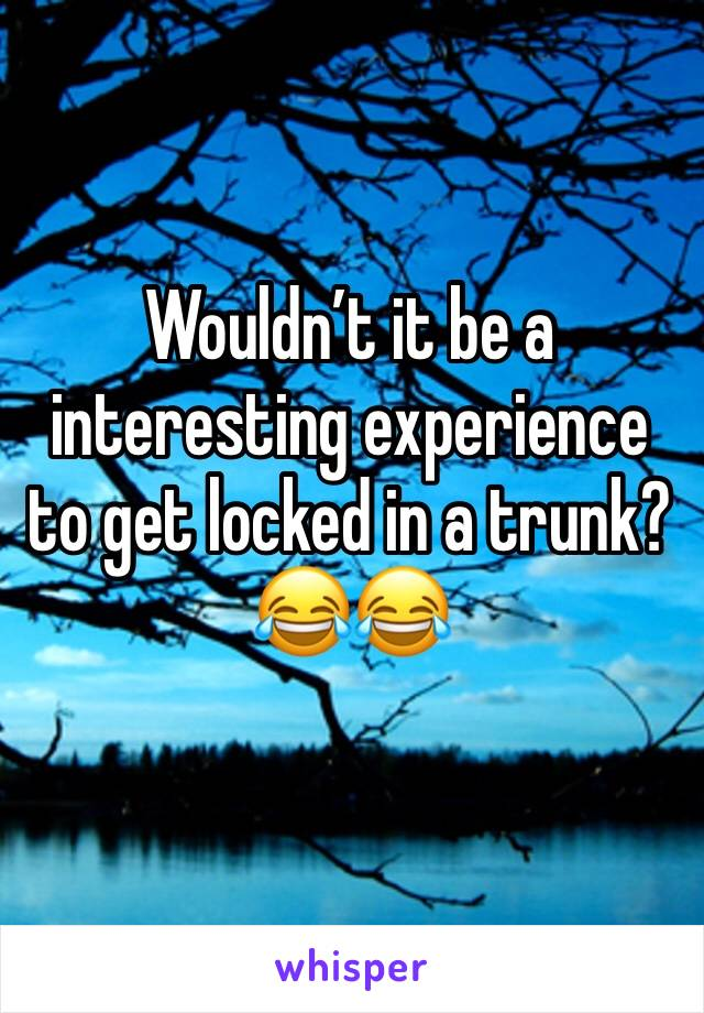Wouldn't it be a interesting experience to get locked in a trunk? 😂😂