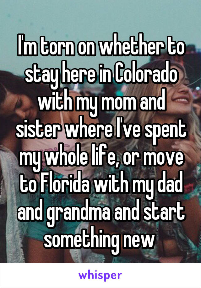 I'm torn on whether to stay here in Colorado with my mom and sister where I've spent my whole life, or move to Florida with my dad and grandma and start something new