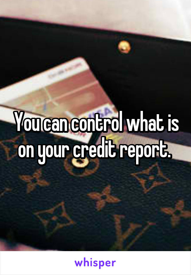 You can control what is on your credit report.