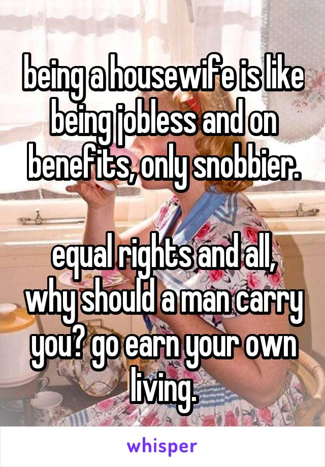 being a housewife is like being jobless and on benefits, only snobbier.  equal rights and all, why should a man carry you? go earn your own living.