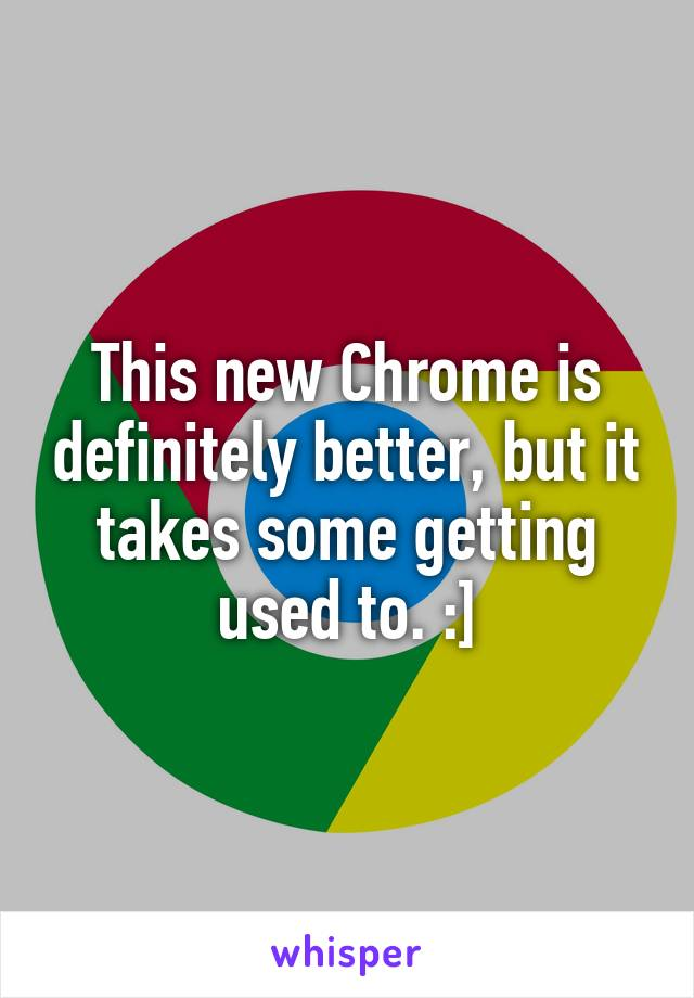 This new Chrome is definitely better, but it takes some getting used to. :]