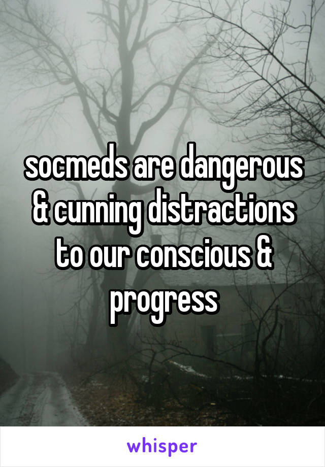 socmeds are dangerous & cunning distractions to our conscious & progress