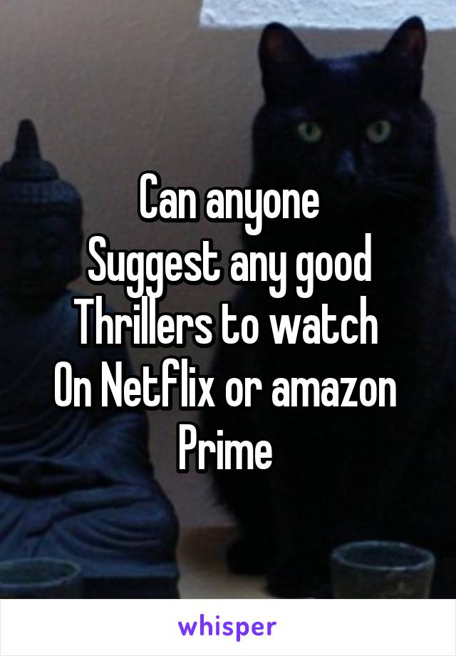 Can anyone Suggest any good Thrillers to watch  On Netflix or amazon  Prime