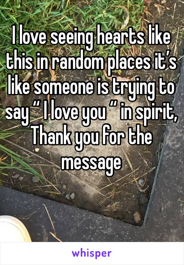 """I love seeing hearts like this in random places it's like someone is trying to say """" I love you """" in spirit,   Thank you for the message"""