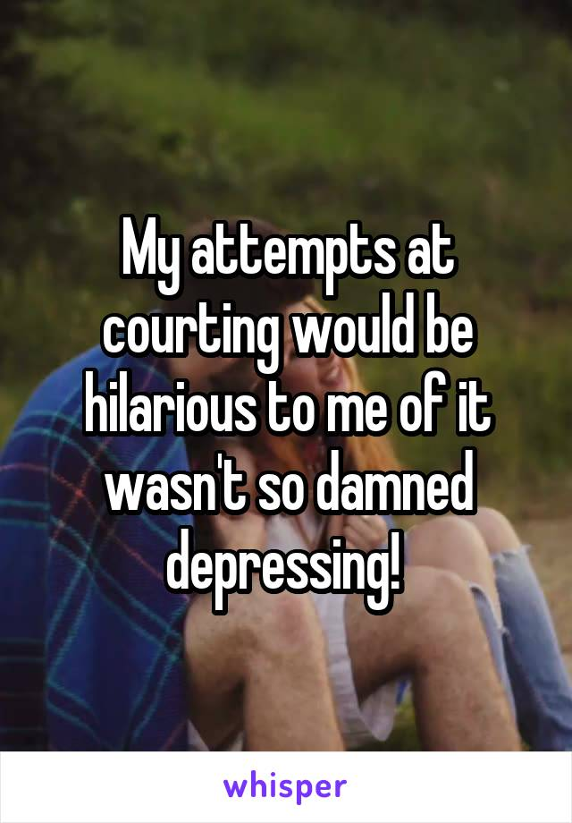 My attempts at courting would be hilarious to me of it wasn't so damned depressing!