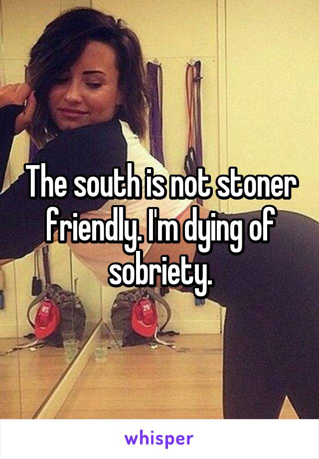 The south is not stoner friendly. I'm dying of sobriety.