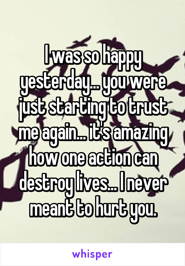 I was so happy yesterday... you were just starting to trust me again... it's amazing how one action can destroy lives... I never meant to hurt you.