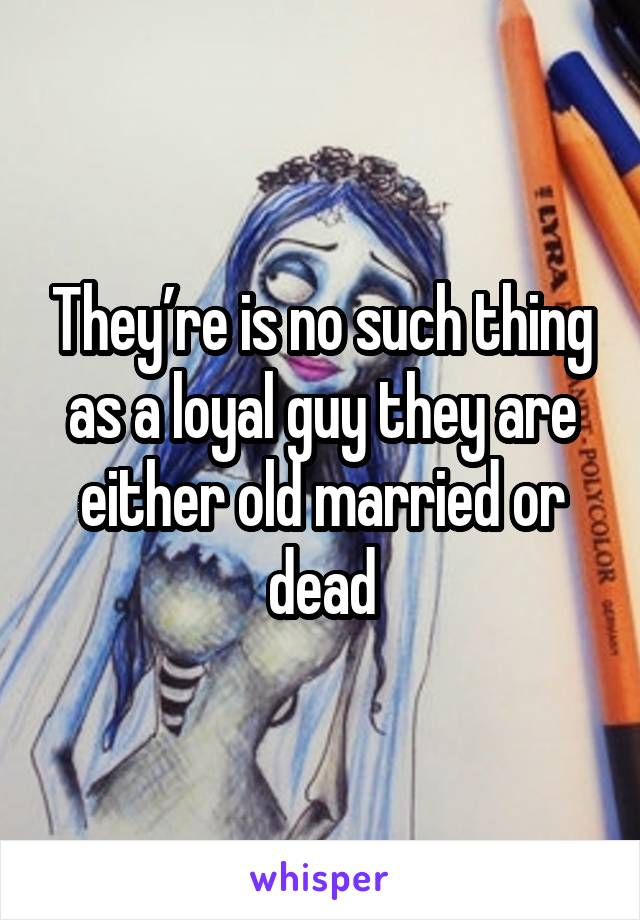 They're is no such thing as a loyal guy they are either old married or dead