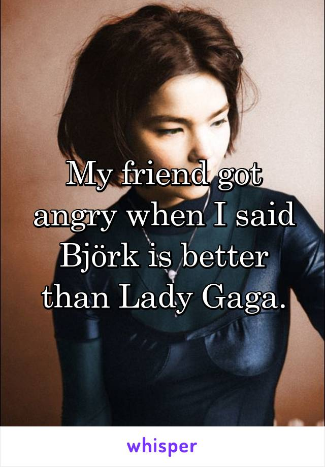 My friend got angry when I said Björk is better than Lady Gaga.