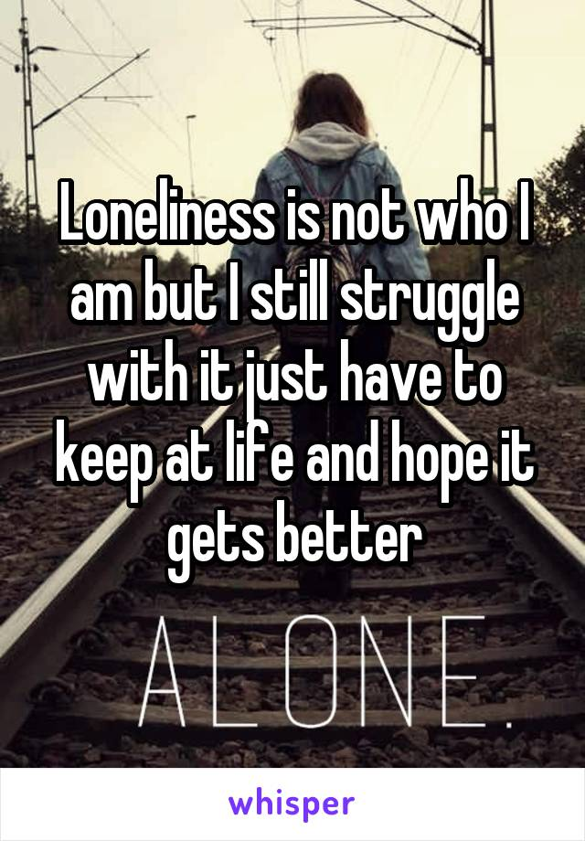 Loneliness is not who I am but I still struggle with it just have to keep at life and hope it gets better