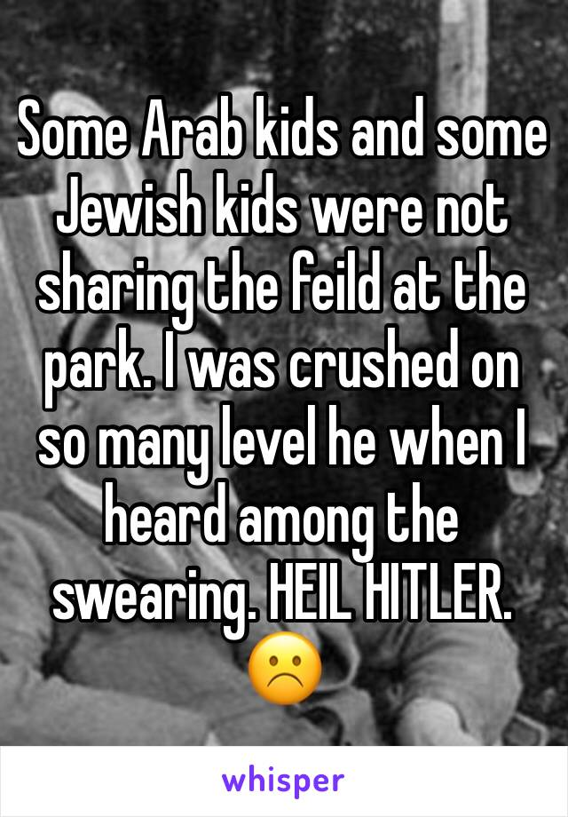 Some Arab kids and some Jewish kids were not sharing the feild at the park. I was crushed on so many level he when I heard among the swearing. HEIL HITLER. ☹️