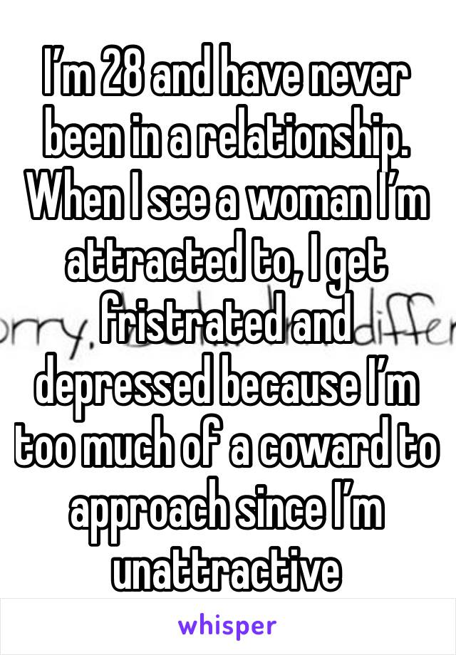 I'm 28 and have never been in a relationship. When I see a woman I'm attracted to, I get fristrated and depressed because I'm too much of a coward to approach since I'm unattractive