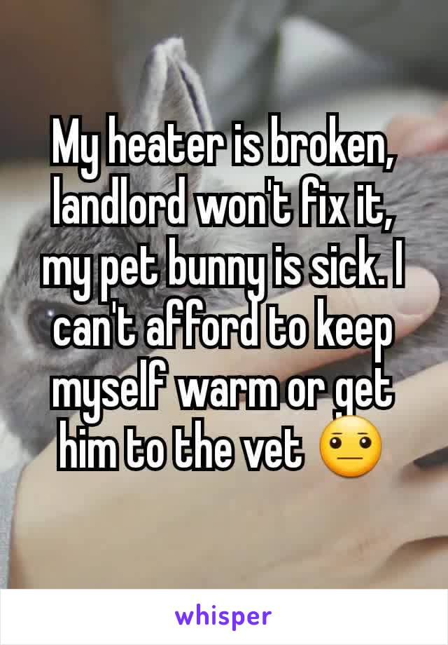 My heater is broken, landlord won't fix it, my pet bunny is sick. I can't afford to keep myself warm or get him to the vet 😐