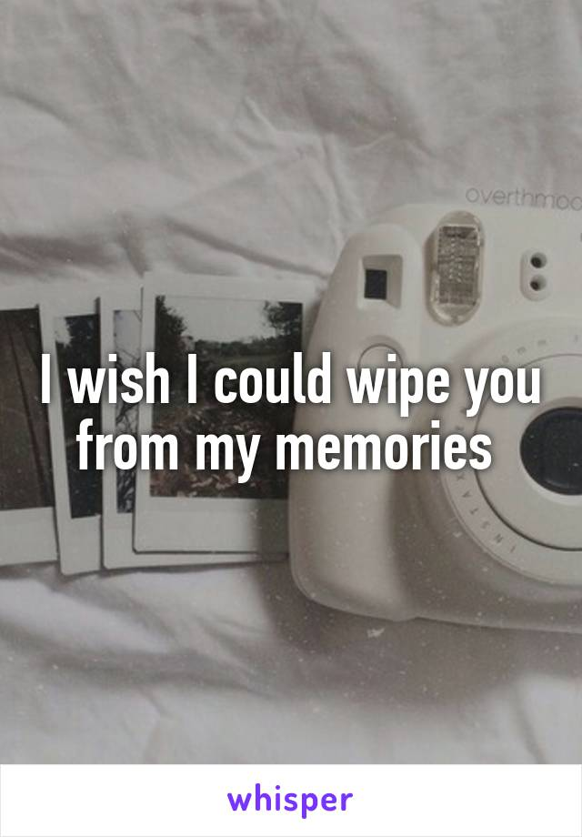 I wish I could wipe you from my memories