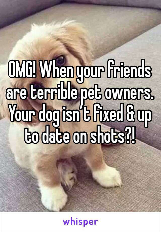 OMG! When your friends are terrible pet owners. Your dog isn't fixed & up to date on shots?!