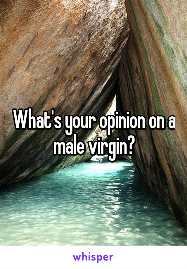 What's your opinion on a male virgin?