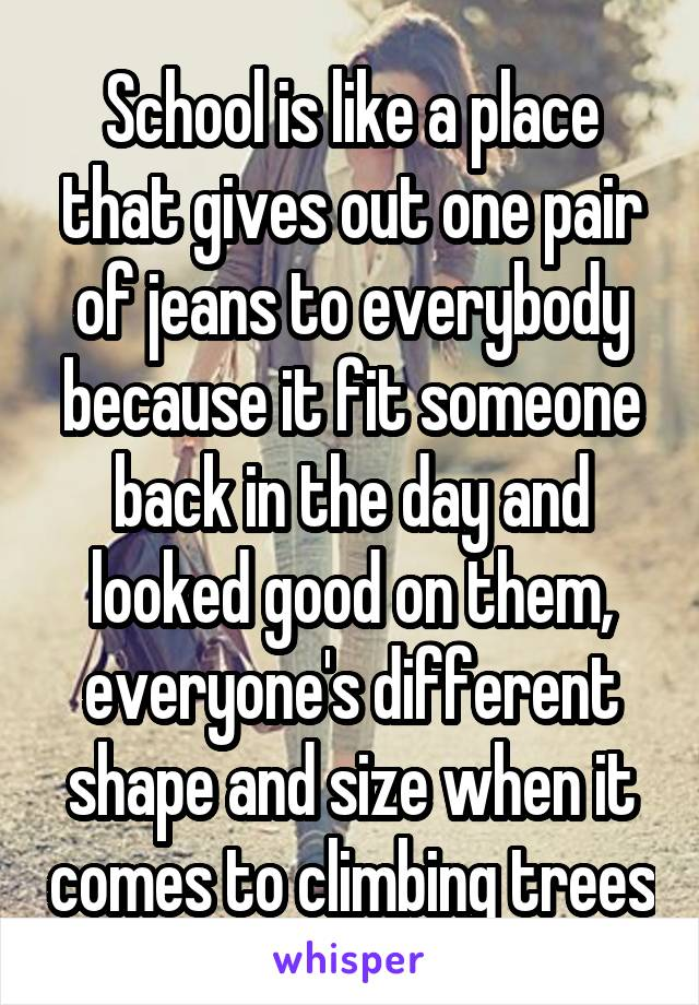 School is like a place that gives out one pair of jeans to everybody because it fit someone back in the day and looked good on them, everyone's different shape and size when it comes to climbing trees