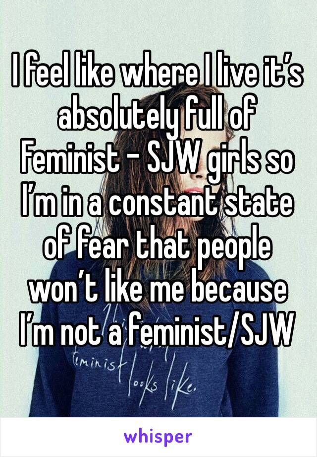 I feel like where I live it's absolutely full of Feminist - SJW girls so I'm in a constant state of fear that people won't like me because I'm not a feminist/SJW