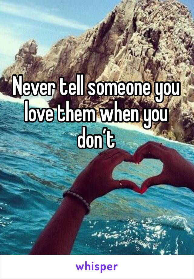 Never tell someone you love them when you don't
