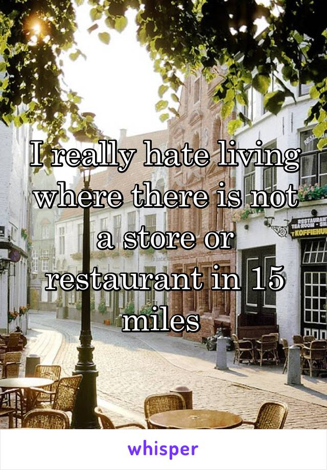 I really hate living where there is not a store or restaurant in 15 miles