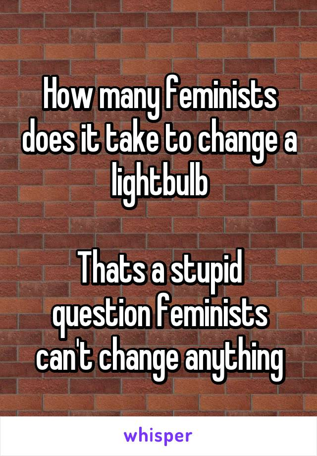How many feminists does it take to change a lightbulb  Thats a stupid question feminists can't change anything