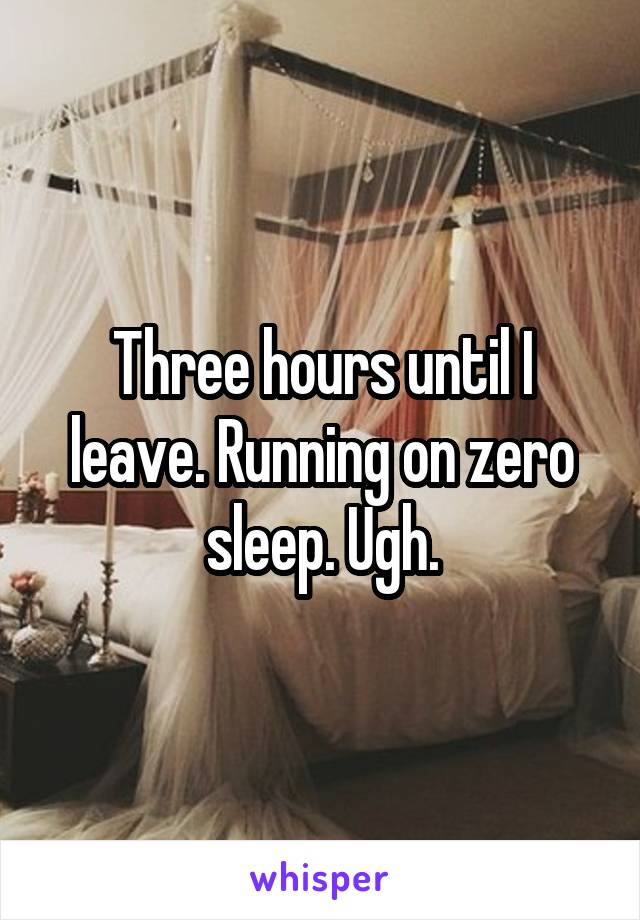 Three hours until I leave. Running on zero sleep. Ugh.