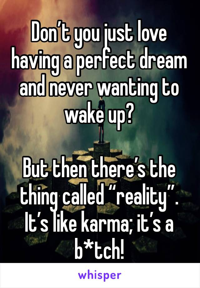 """Don't you just love having a perfect dream and never wanting to wake up?  But then there's the thing called """"reality"""". It's like karma; it's a b*tch!"""