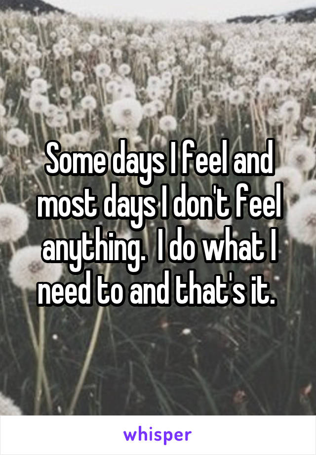 Some days I feel and most days I don't feel anything.  I do what I need to and that's it.