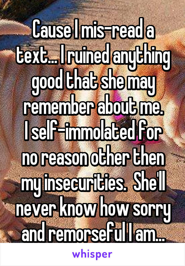 Cause I mis-read a text... I ruined anything good that she may remember about me. I self-immolated for no reason other then my insecurities.  She'll never know how sorry and remorseful I am...