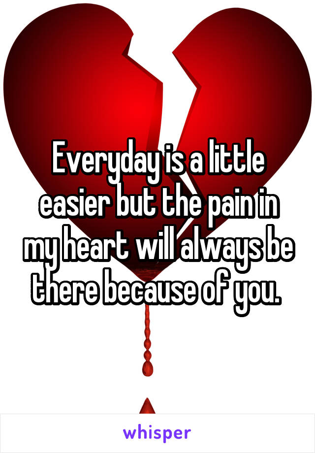 Everyday is a little easier but the pain in my heart will always be there because of you.